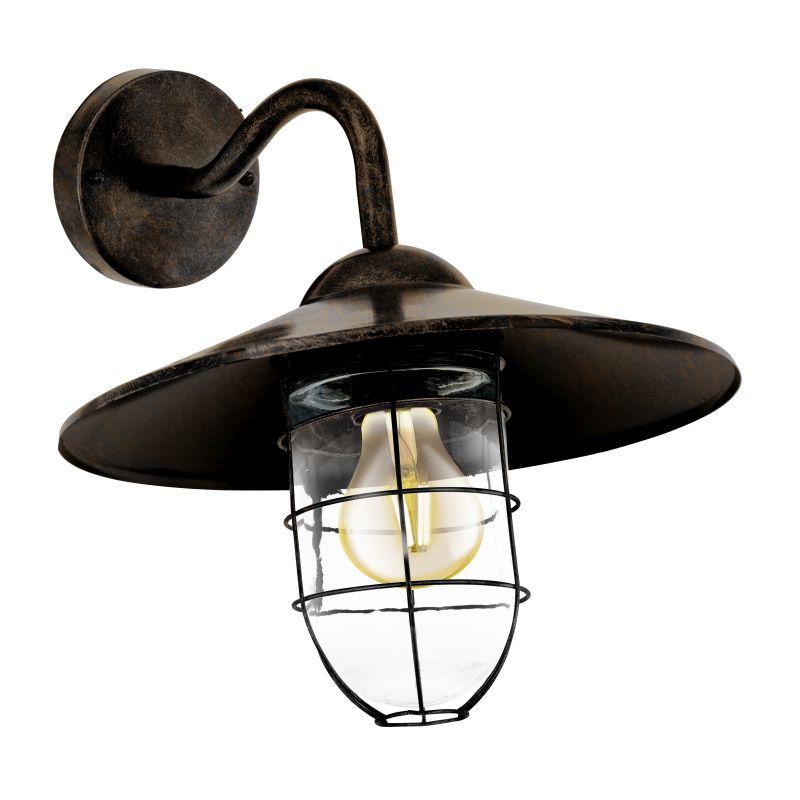 Eglo-94863 - Melgoa - Outdoor Antique Copper & Clear Diffuser Wall Lamp