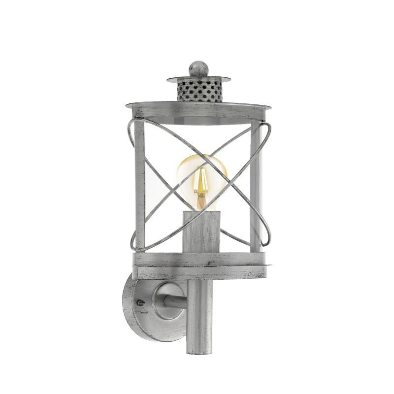 Eglo-94865 - Hilburn 1 - Outdoor Antique Silver & Clear Uplight Wall Lamp