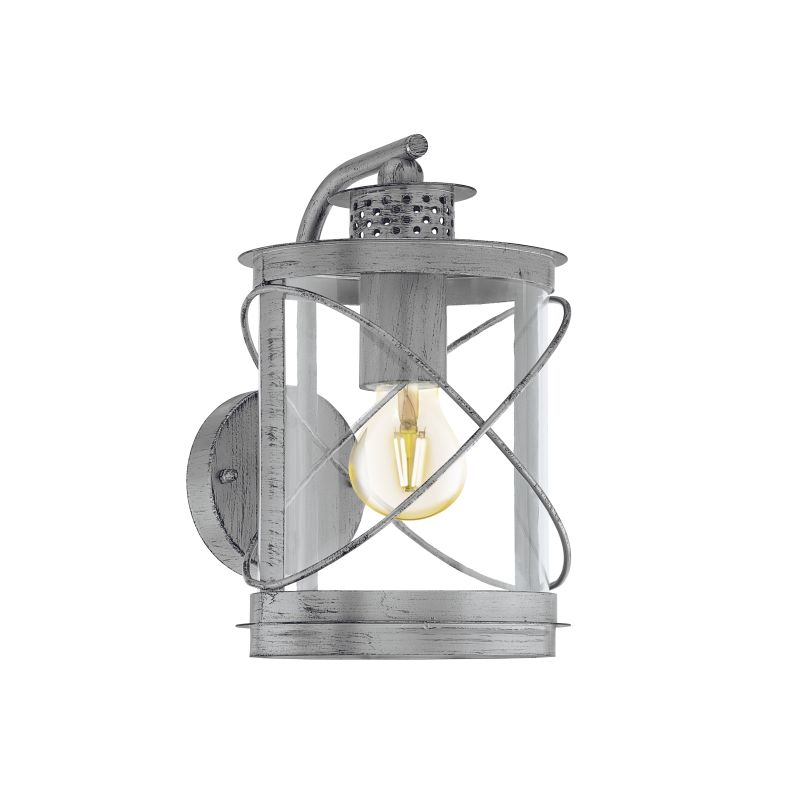 Eglo-94866 - Hilburn 1 - Outdoor Antique Silver & Clear Downlight Wall Lamp