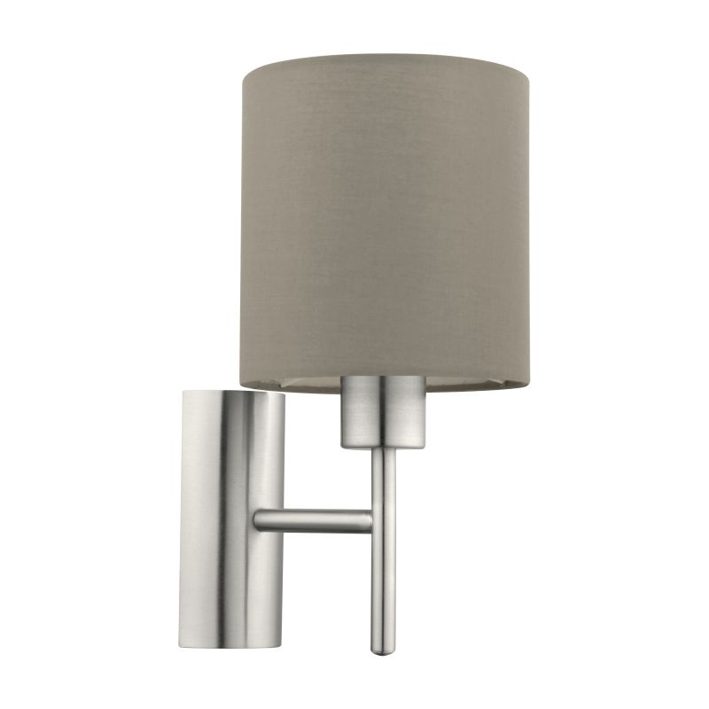 Eglo-94925 - Pasteri - Taupe & White with Nickel Wall Lamp