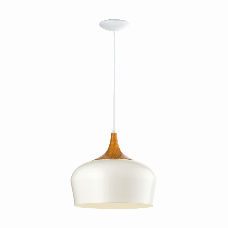 Eglo-95383 - Obregon - Cream with Wood Single Hanging Pendant