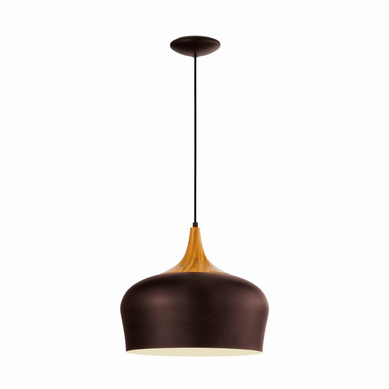 Eglo-95385 - Obregon - Brown with Wood Single Hanging Pendant