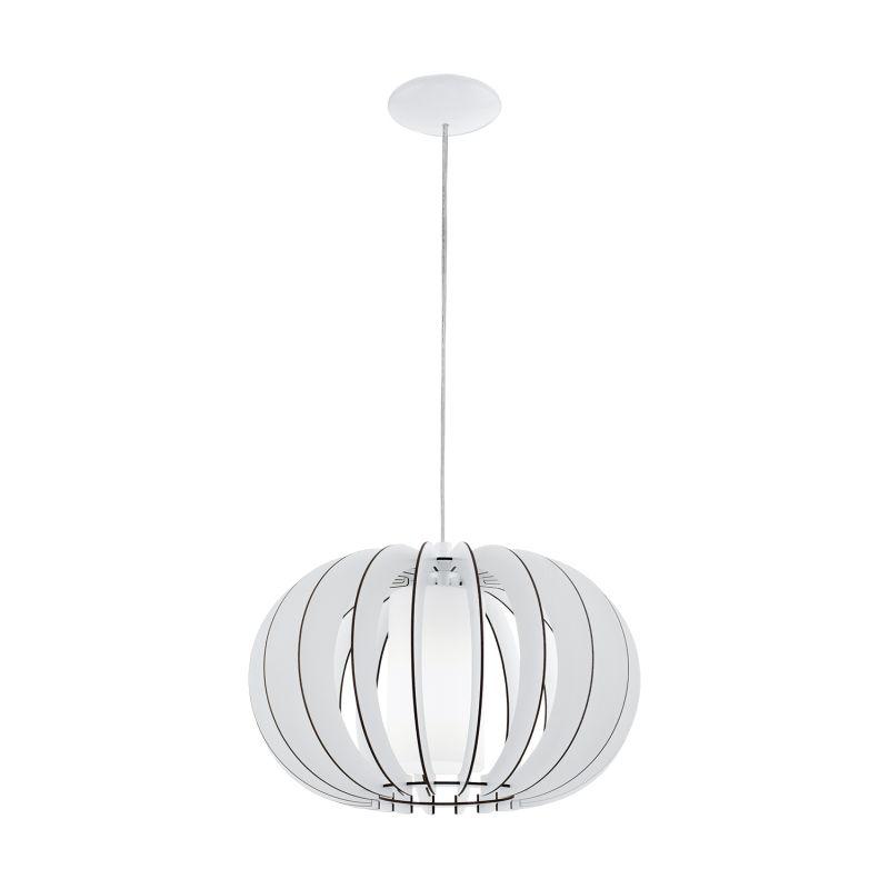 Eglo-95606 - Stellato 2 - White Wood and Glass Small Pendant