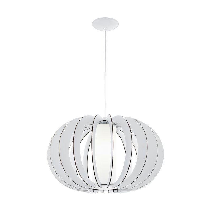 Eglo-95607 - Stellato 2 - White Wood and Glass Medium Pendant