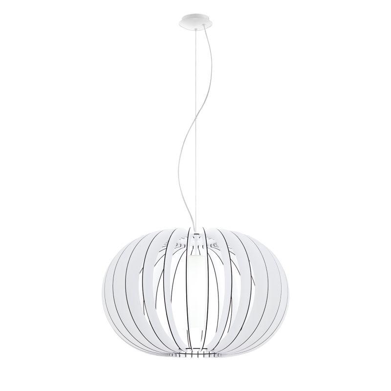 Eglo-95608 - Stellato 2 - White Wood and Glass Big Pendant