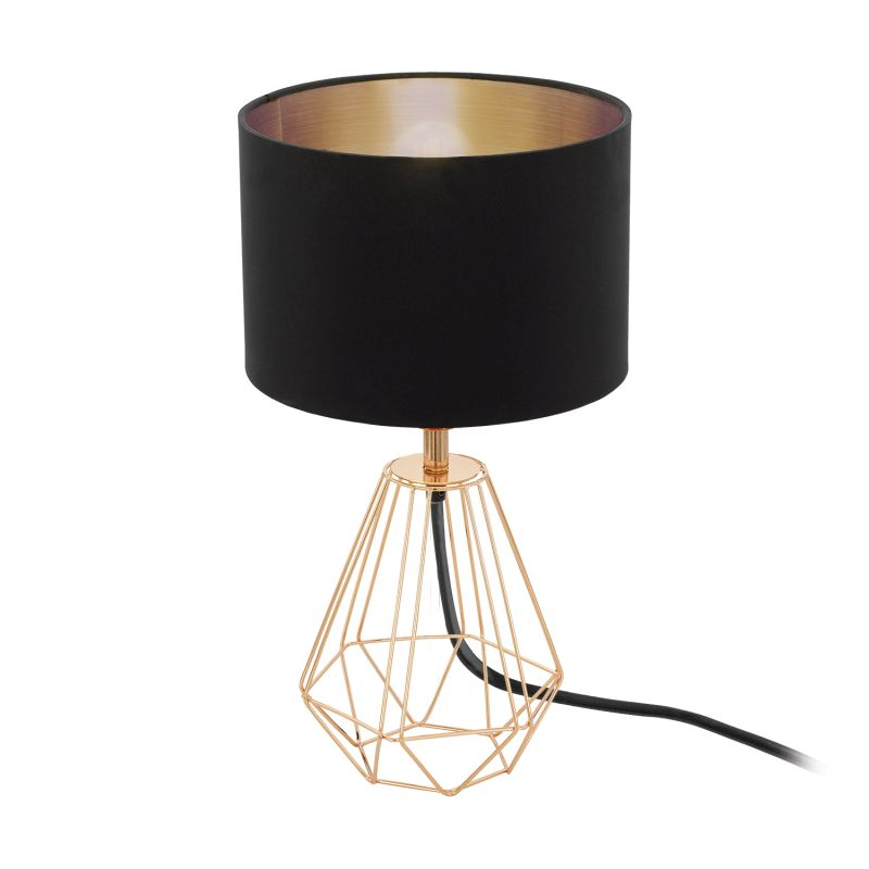 Eglo-95787 - Carlton 2 - Black with Copper Small Cage Table Lamp