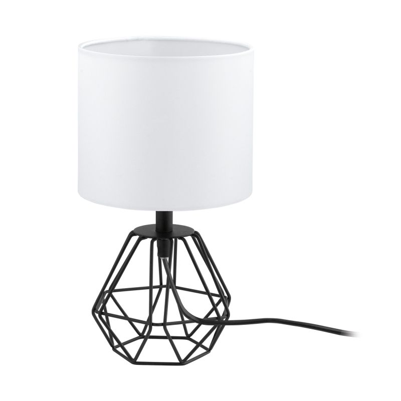 Eglo-95789 - Carlton 2 - White with Black Small Cage Table Lamp
