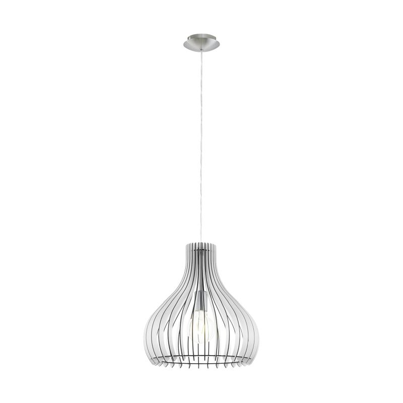 Eglo-96257 - Tindori - White Wood with Nickel Single Hanging Pendant
