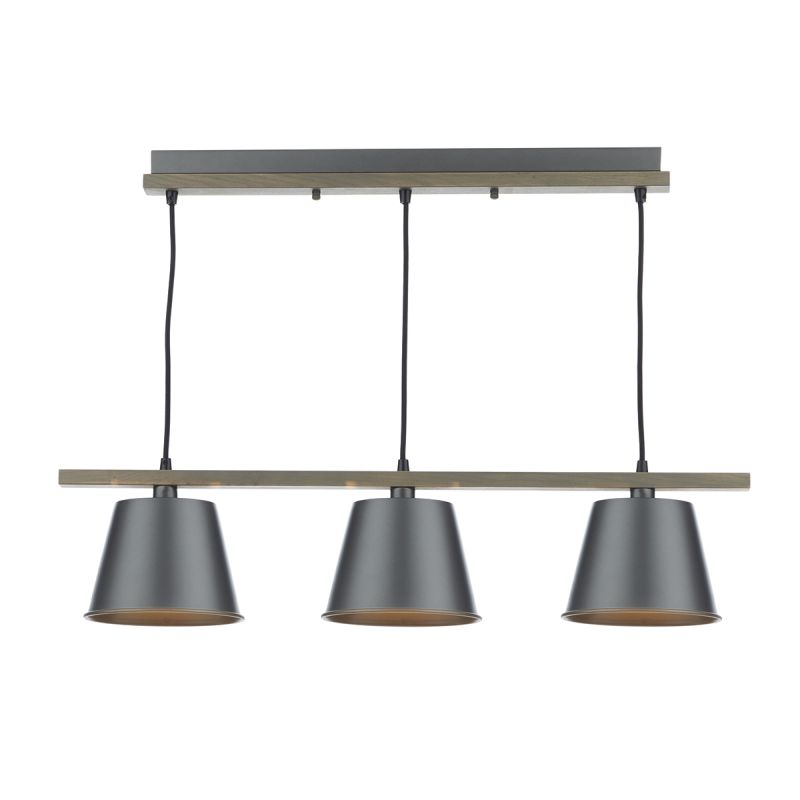 Dar-ARK0348 - Arken - Grey Metal with Wood 3 Light over Island Fitting