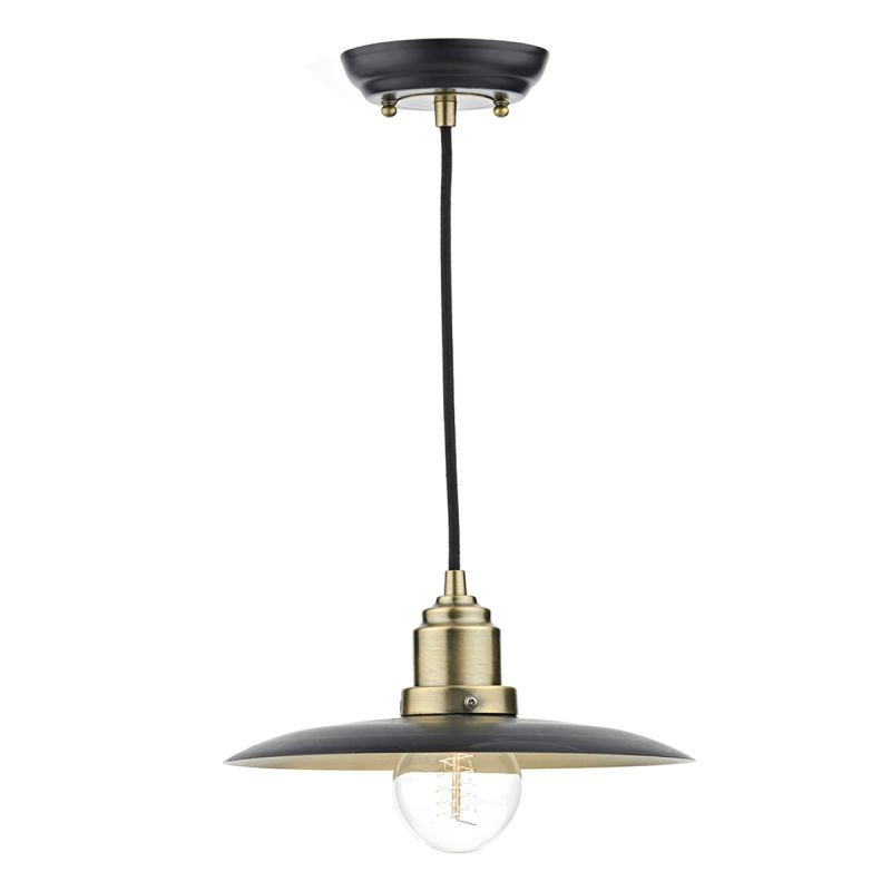 Dar-HAN0154 - Hannover - Black with Antique Brass Single Hanging Pendant