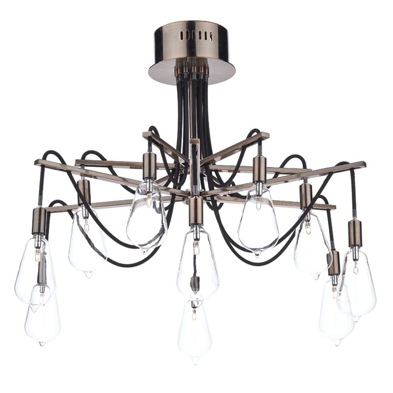Dar-SCR2364 - Scroll -  Transparent Glass with Copper 10 Light Centre Fitting