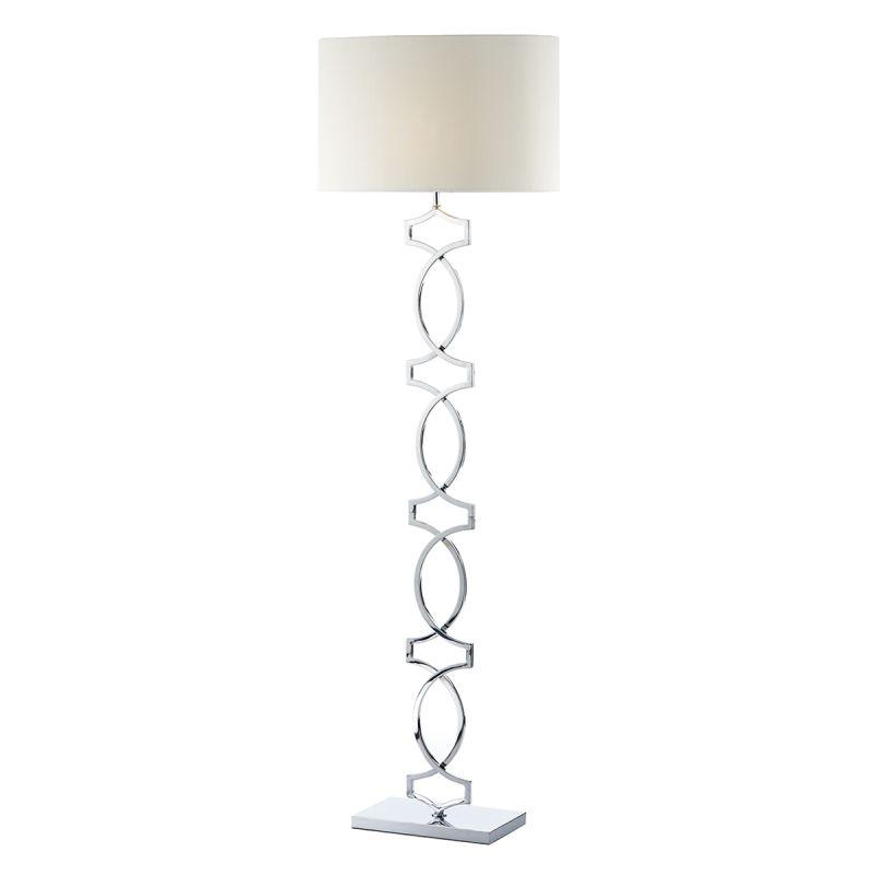 Dar-DON4950 - Donovan - Polished Chrome with Cream Shade Floor Lamp
