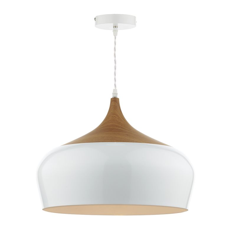 Dar-GAU8602 - Gaucho - Big Gloss White Metal Shade with Wood Pendant