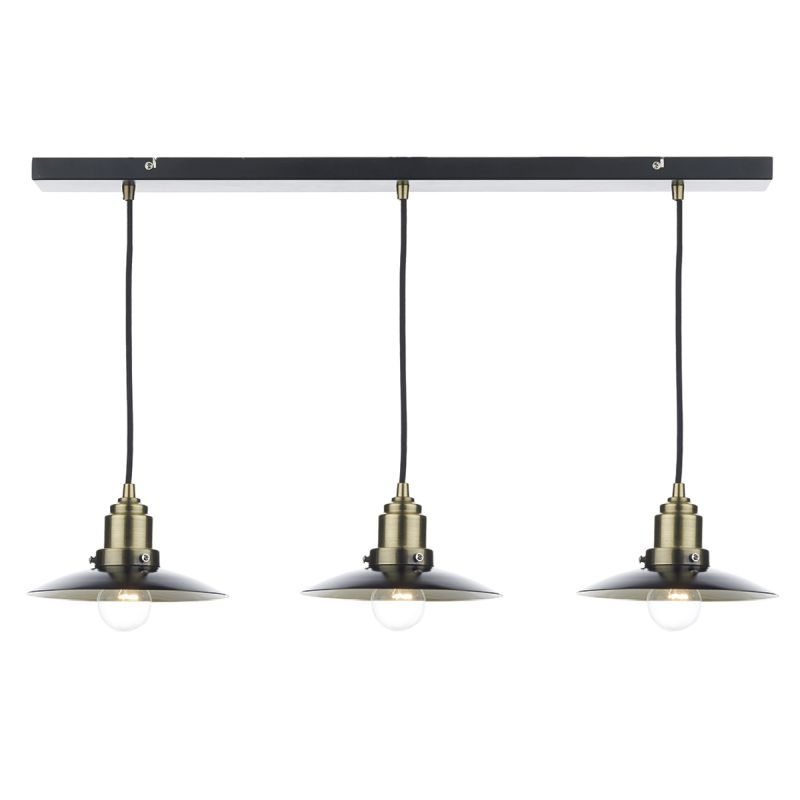 Dar-HAN0354 - Hannover - Black with Antique Brass 3 Light over Island Fitting
