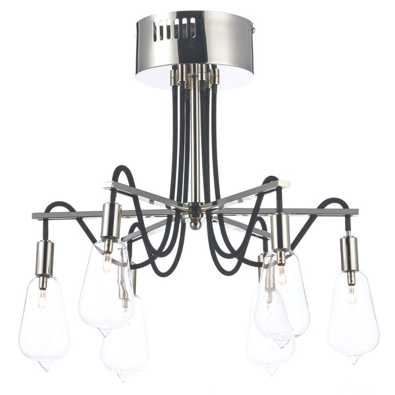 Dar-SCR0638 - Scroll - Transparent Glass with Polish Nickel 6 Light Centre Fitting