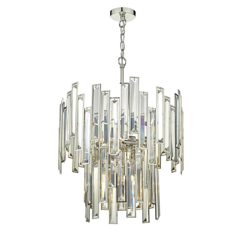 Dar-ODI0620 - Odile - Champagne Crystal with Nickel 6 Light Chandelier