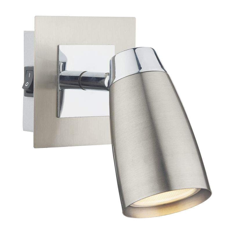 Dar-LOF0746 - Loft - Satin and Polished Chrome Single Spotlights Wall Lamp