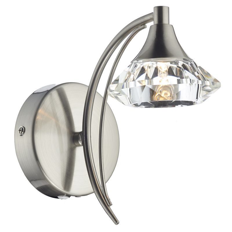 Dar-LUT0746 - Luther - Decorative Satin Chrome with Crystal Single Wall Lamp