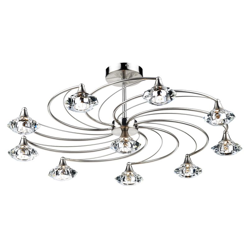 Dar-LUT2346 - Luther - Decorative Satin Chrome with Crystal 10 Light Centre Fitting