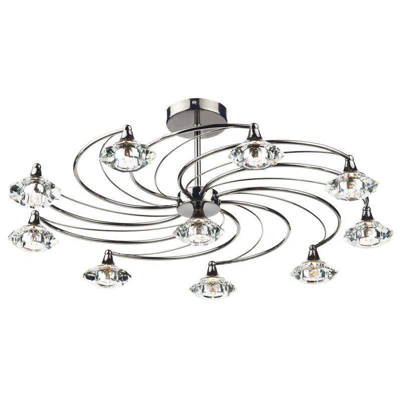 Dar-LUT2367 - Luther - Decorative Black Chrome with Crystal 10 Light Centre Fitting