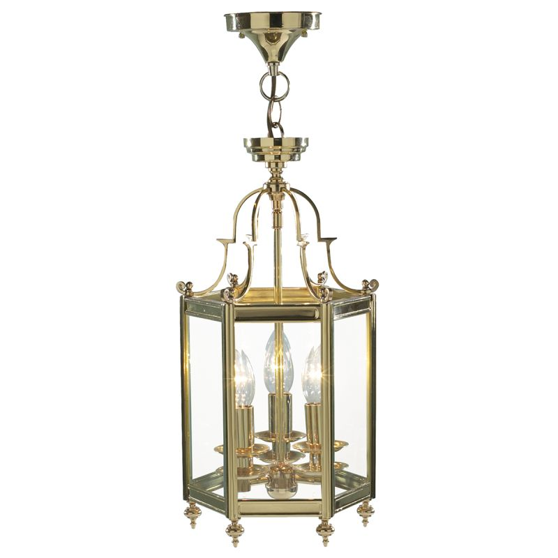 Dar-MOO0340 - Moorgate - Polished Brass and Clear Glass 3 Light Lantern Pendant