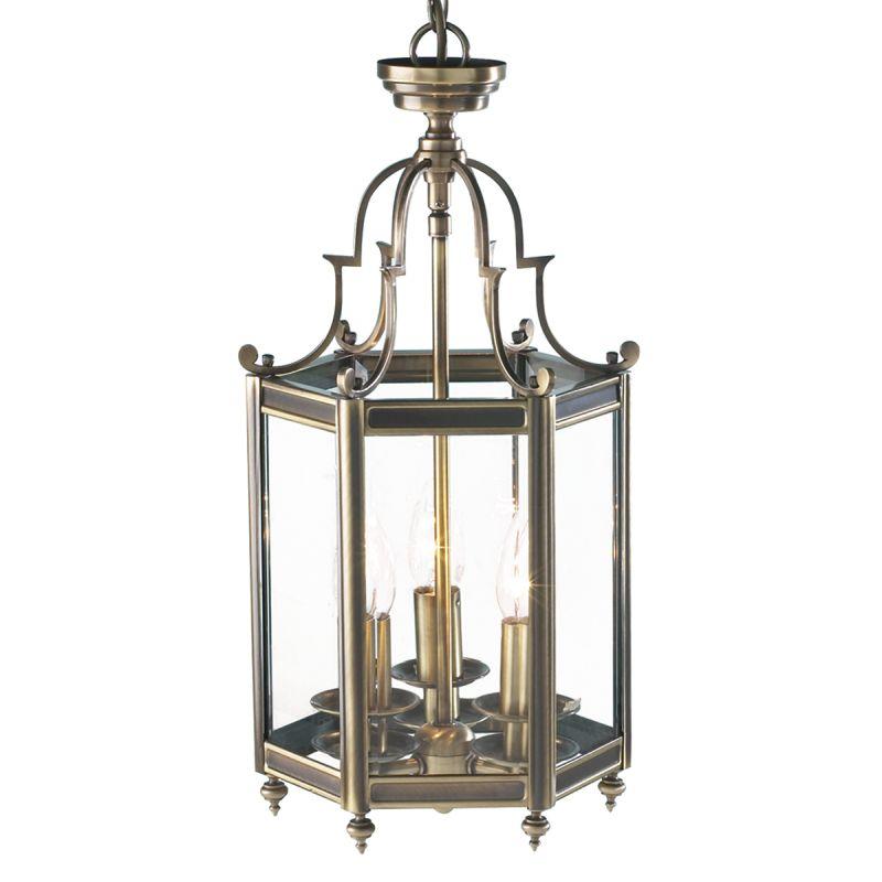 Dar-MOO0375 - Moorgate - Antique Brass and Clear Glass 3 Light Lantern Pendant