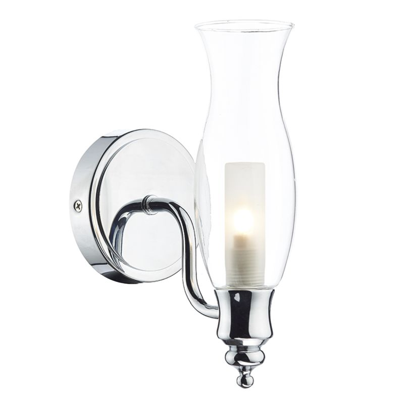 Dar-VES0750 - Vestry - Bathroom Clear Glass and Chrome Wall Lamp