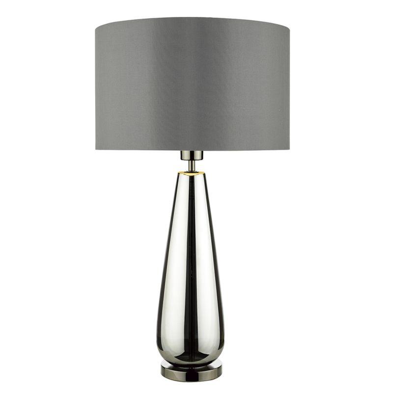 Dar-PAB4267 - Pablo - Black Chrome Glass with Grey Shade Table Lamp