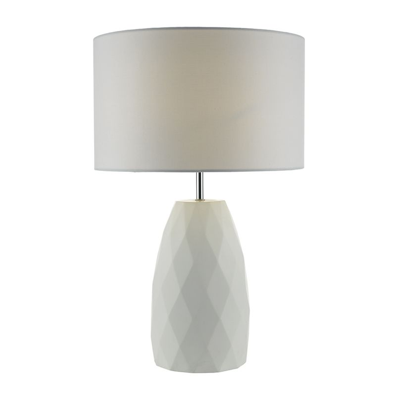 Dar-CIA422 - Ciara - White Fabric with Hand Cast Plaster Table lamp