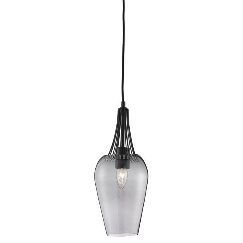 Searchlight-8911BK - Whisk - Smoky Glass with Matt Black Trim Single Pendant