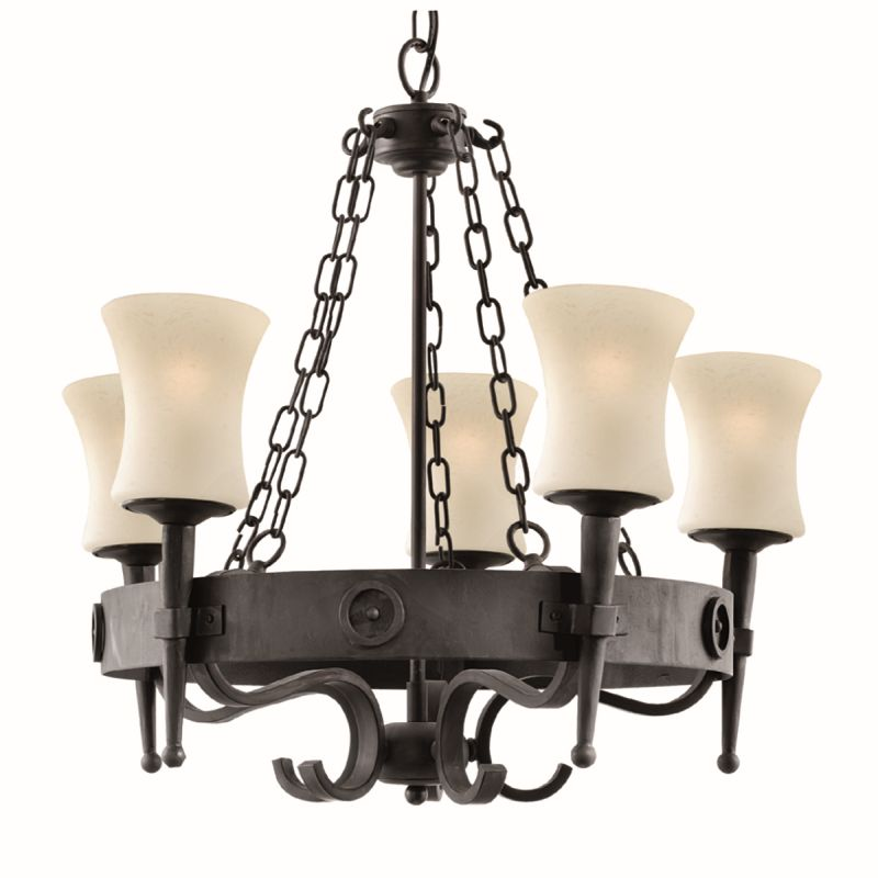 Searchlight-0815-5BK - Cartwheel - Black Iron with White Glass 5 Light Centre Fitting