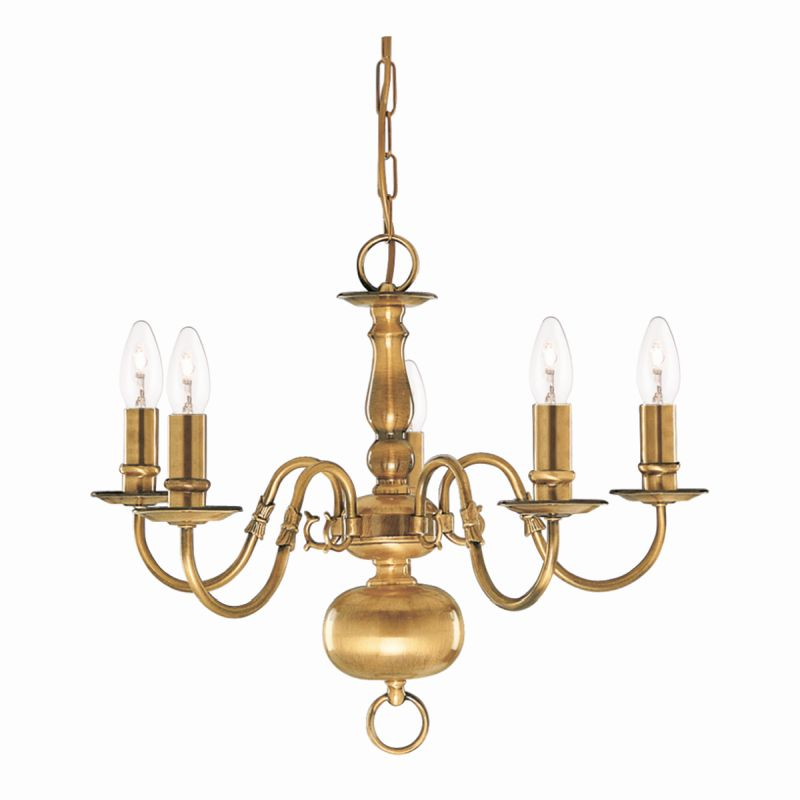Searchlight-1019-5AB - Flemish - Antique Brass 5 Light Centre Fitting