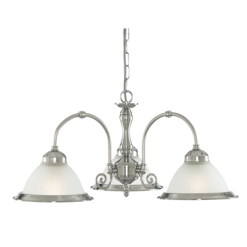 Searchlight-1043-3 - American Diner - Ribbed Glass & Satin Silver 3 Light Centre Fitting