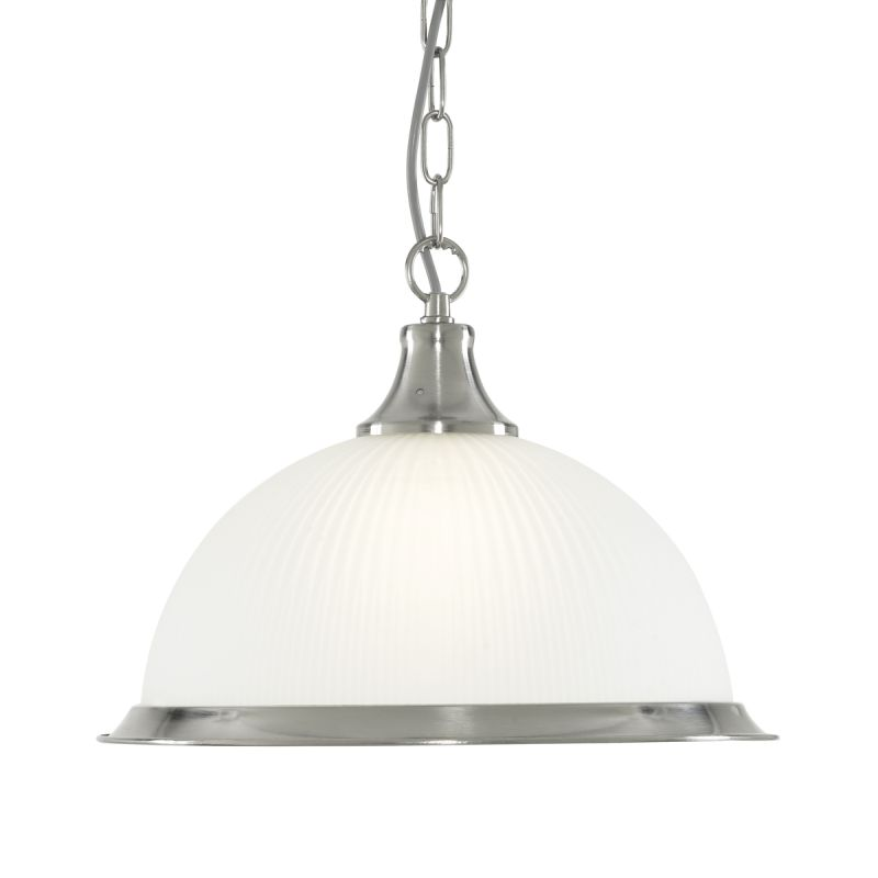 Searchlight-1044 - American Diner - Ribbed Glass & Satin Silver Single Pendant