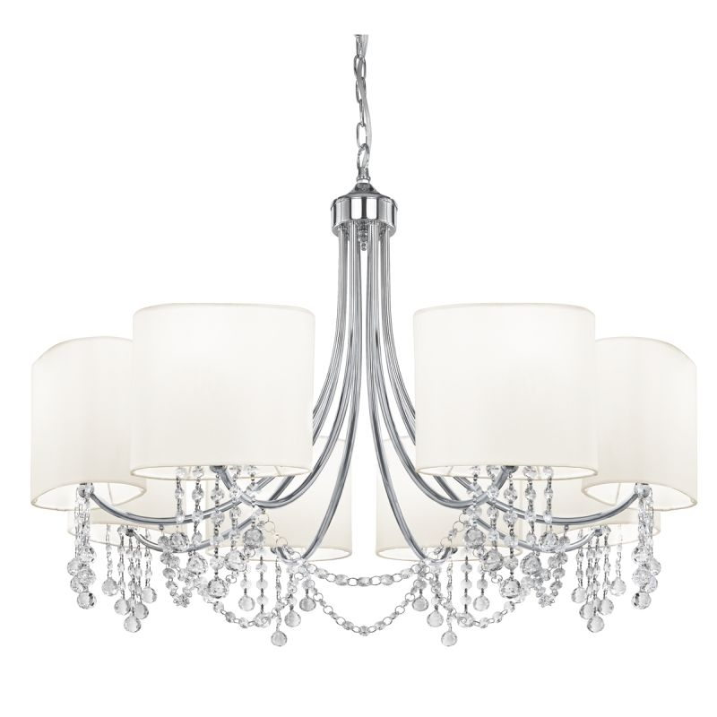 Searchlight-1058-8CC - Nina - White & Crystal with Chrome 8 Light Centre Fitting