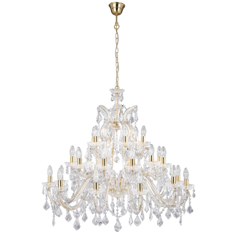 Searchlight-1214-30 - Marie Therese - Crystal with Gold & Clear 30 Light Chandelier