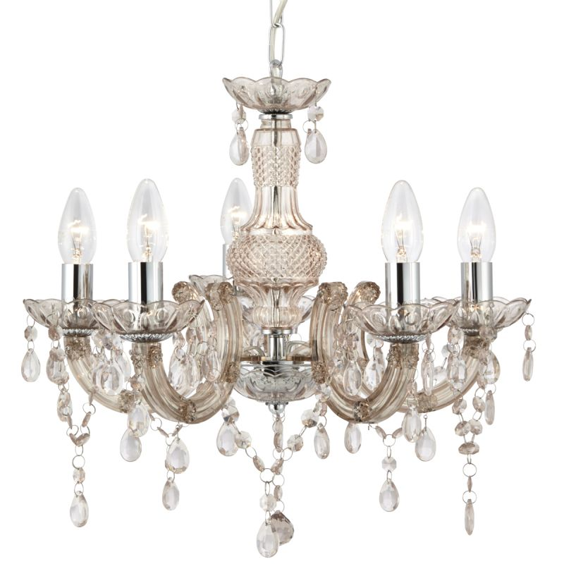 Searchlight-1455-5MI - Marie Therese - Crystal & Mink with Chrome 5 Light Chandelier