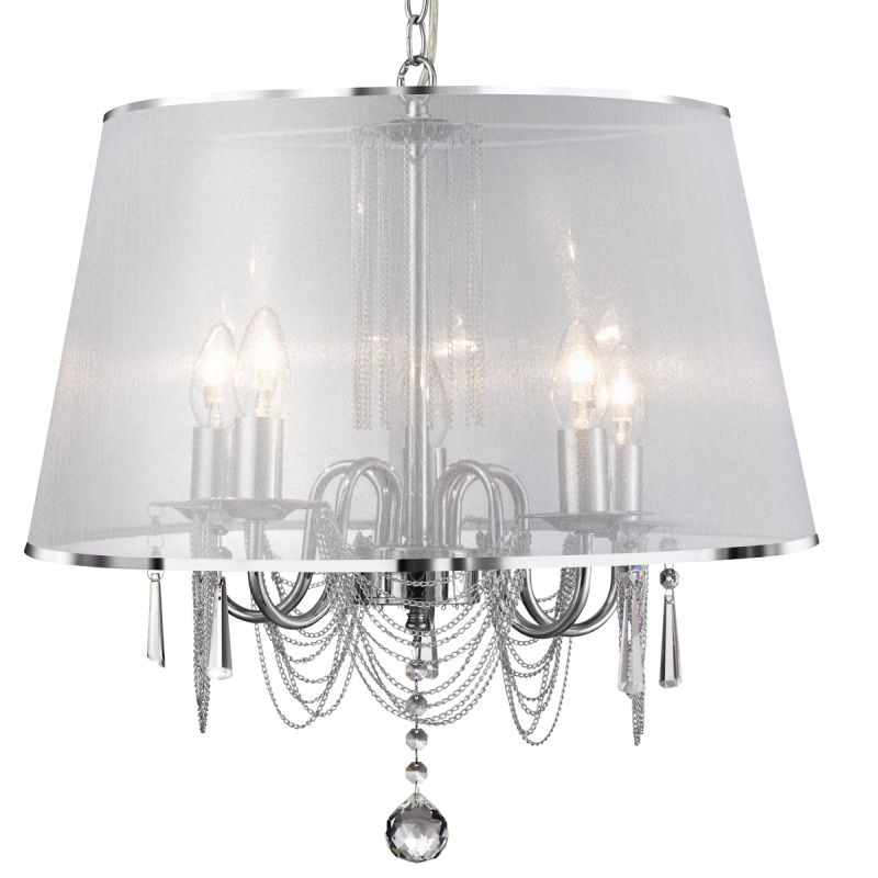 Searchlight-1485-5CC - Venetian - White Viole with Chrome & Crystal 5 Light Pendant