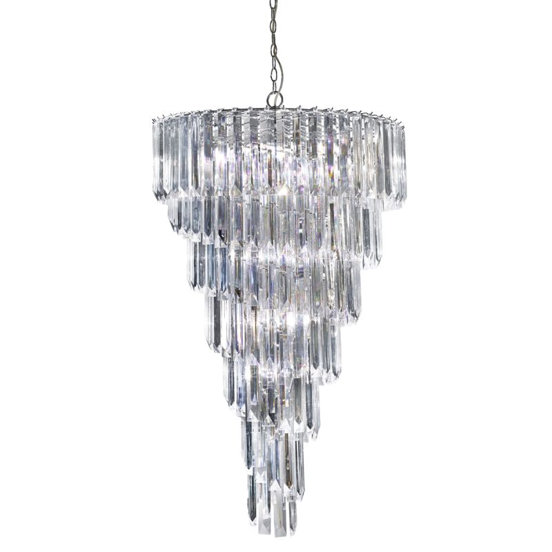 Searchlight-7999-9CC - Sigma - Acrylic with Chrome 9 Light Spiral Chandelier