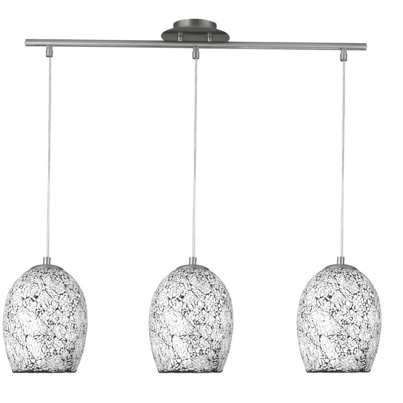 Searchlight-8069-3WH - Crackle - White Crackle Glass with Satin Silver 3 Light over Island Fitting