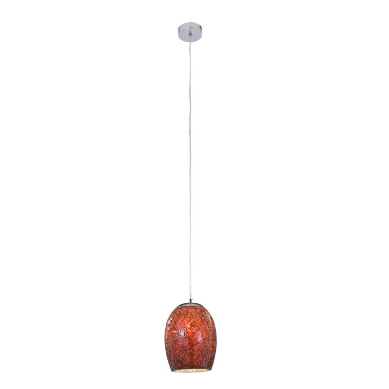 Searchlight-8069RE - Crackle - Red Crackle Glass with Satin Silver Single Pendant