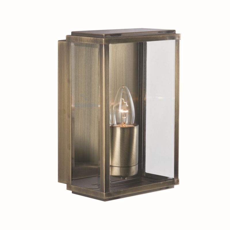 Searchlight-8204AB - Box - Antique Brass with Clear Glass Lantern Wall Lamp