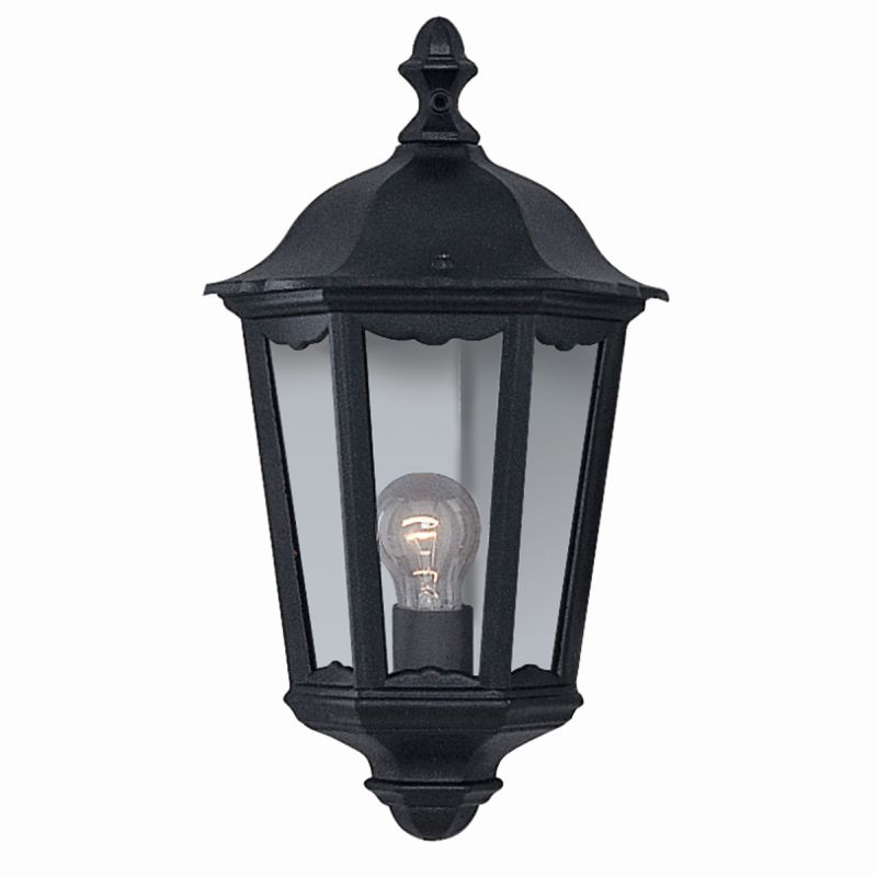 Searchlight-82505BK - Bel Aire - Outdoor Black and Clear Glass Half Wall Lamp