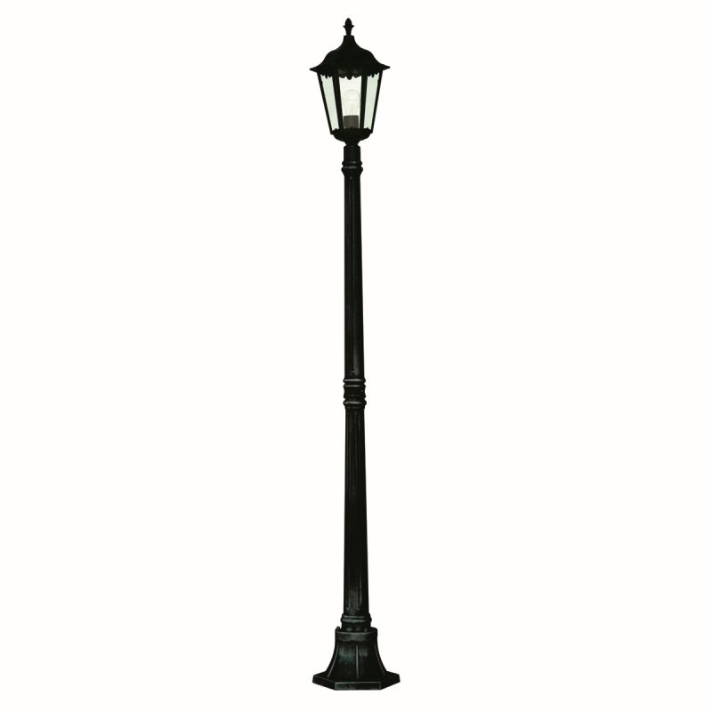 Searchlight-82508BK - Bel Aire - Outdoor Black and Clear Glass Big Single Post