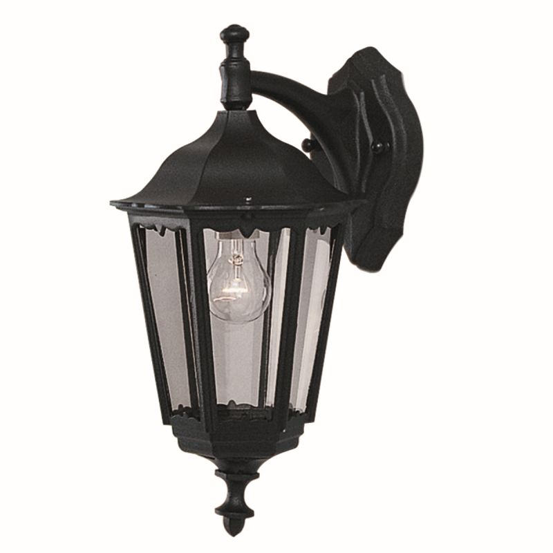 Searchlight-82531BK - Bel Aire - Outdoor Black and Clear Glass Downlighter Wall Lamp