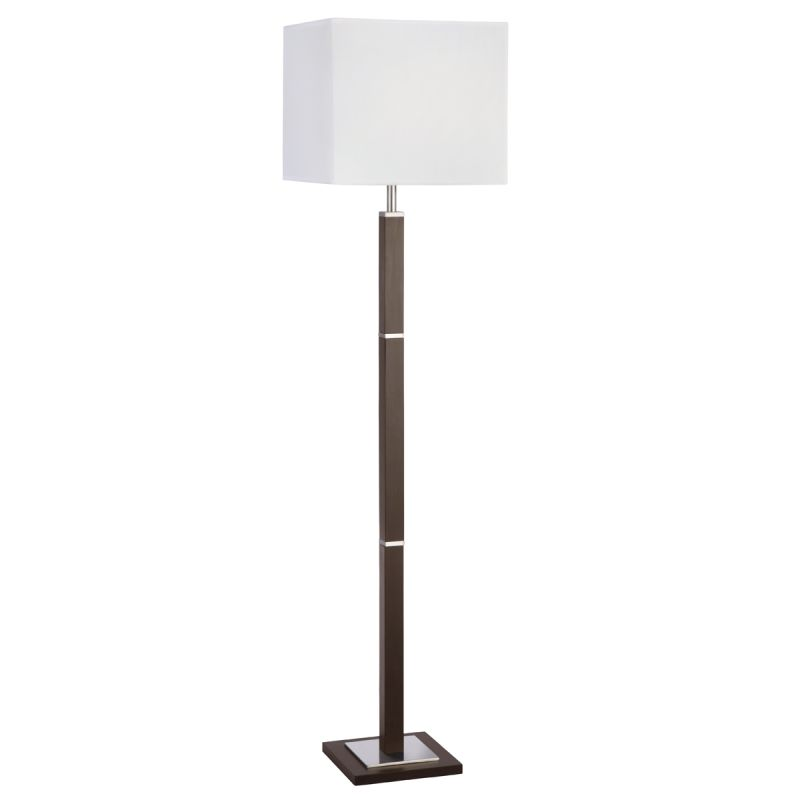 Searchlight-8880BR - Waverley - White Shade with Brown Wood & Satin Silver Floor Lamp