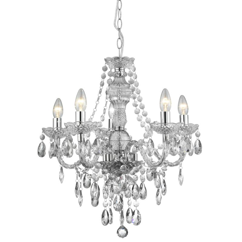 Searchlight-8885-5CL - Marie Therese - Crystal Glass & Acrylic, Chrome 5 Light Chandelier