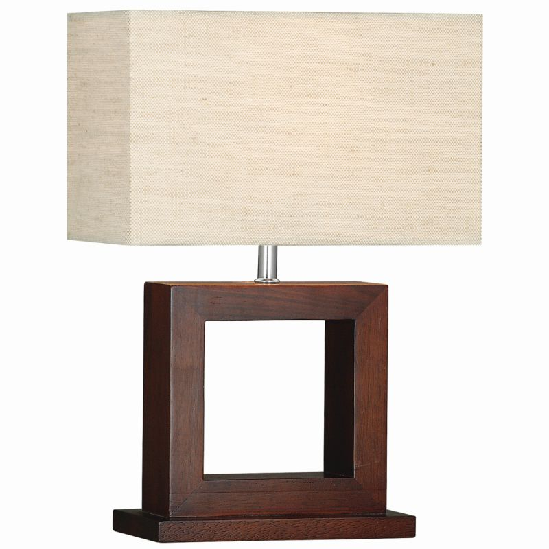 Searchlight-9000 - Cosmopolitan - Beige Lined Shade with Dark Wood Table Lamp
