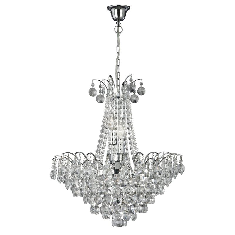 Searchlight-9071-52CC - Limoges - Crystal with Chrome 6 Light Chandelier