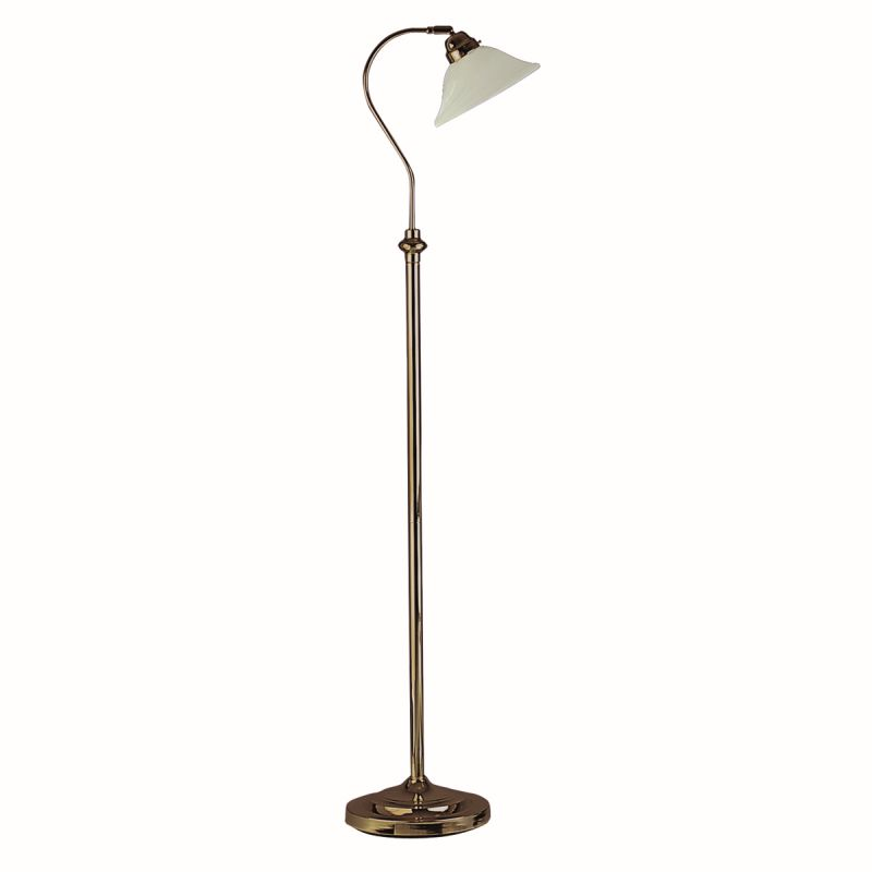 Searchlight-9122AB - Adjustable floor - Marble Glass with Antique Brass Floor Lamp